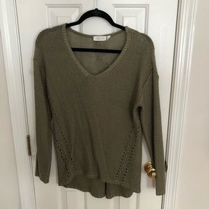 RD Style Army Green V Neck Sweater